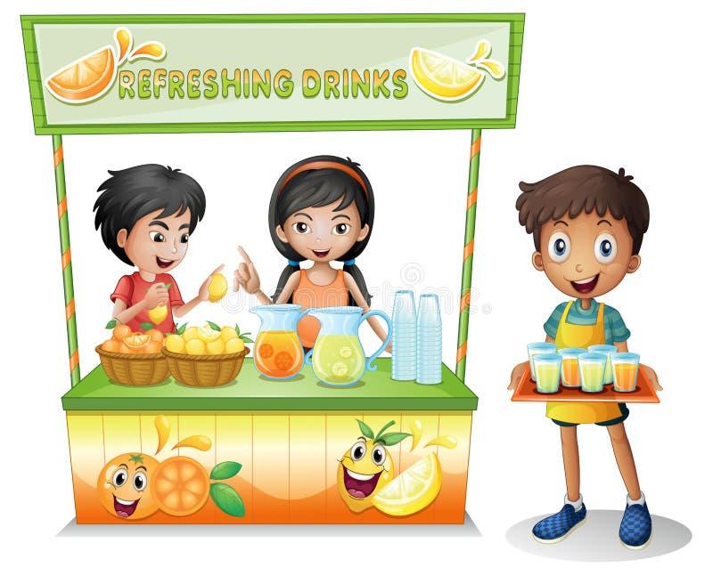 在卖刷新的饮料的摊位的孩子 向量例证