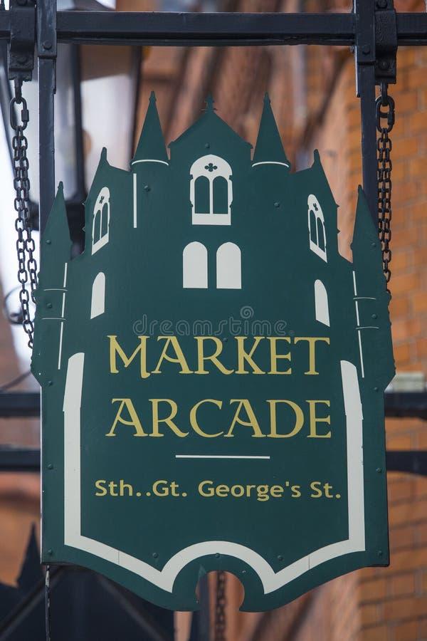 在南伟大的乔治街上的市场拱廊在都伯林 库存照片