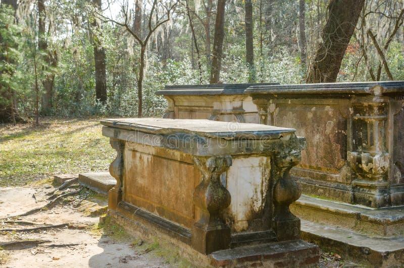 在南卡罗来纳种植园的老墓碑 库存照片