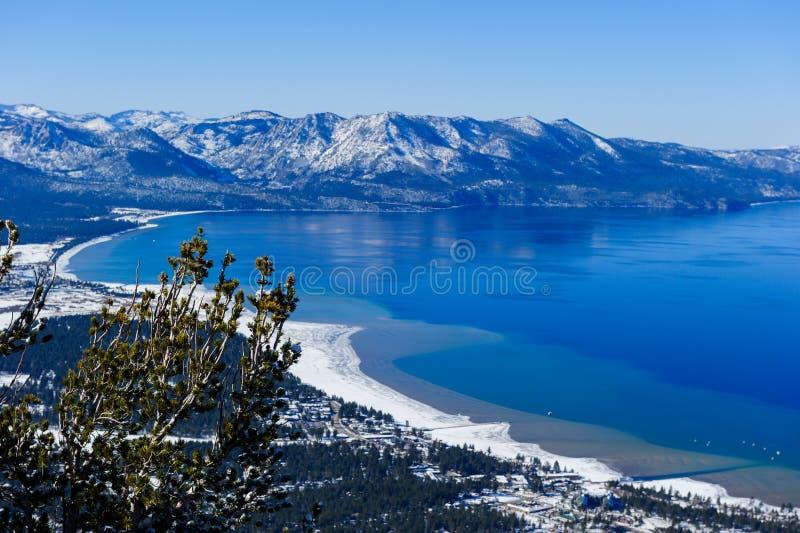 在南太浩湖,加利福尼亚的风景观点 库存图片