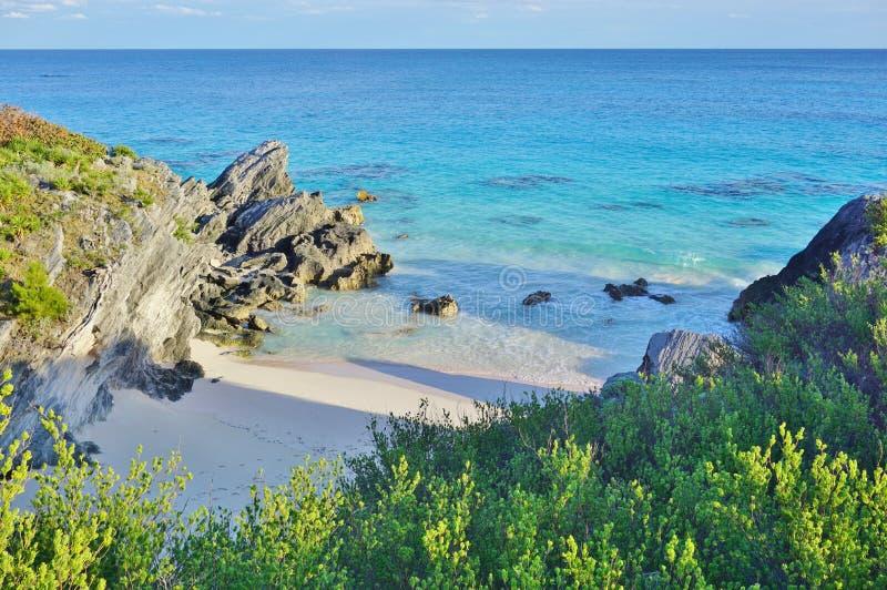 在南安普敦,百慕大附近的绿松石海滩 图库摄影