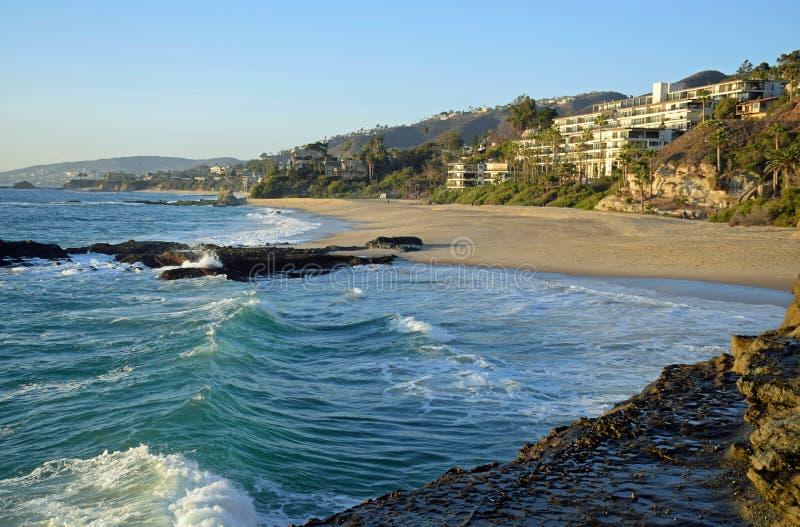 在南拉古纳海滩,加利福尼亚的西部海滩 库存照片