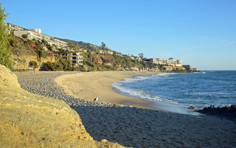 在南拉古纳海滩,加利福尼亚的西部街道海滩 免版税库存照片