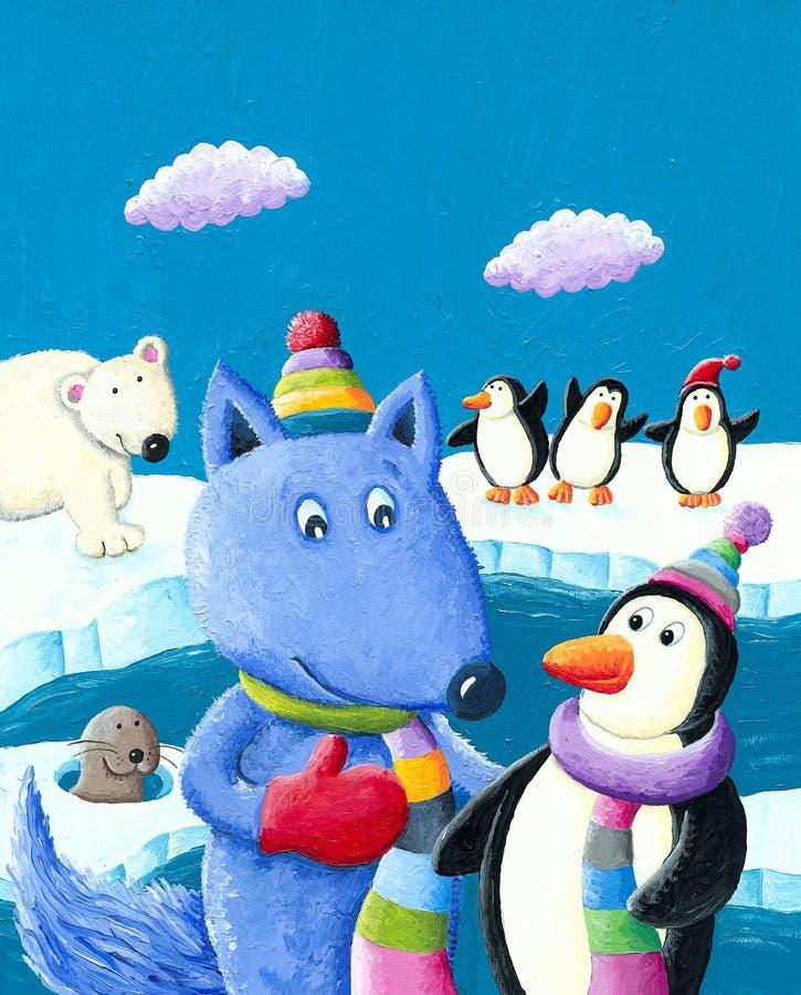 在南极的逗人喜爱的蓝色狐狸 库存例证