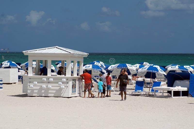 在南海滩的伞在迈阿密 库存照片