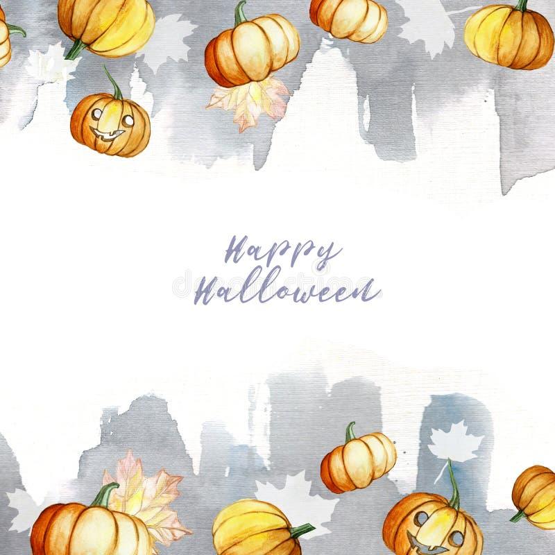在南瓜、叶子和水彩灰色背景万圣夜题材框架的水彩图片与题字,秋天de 库存例证