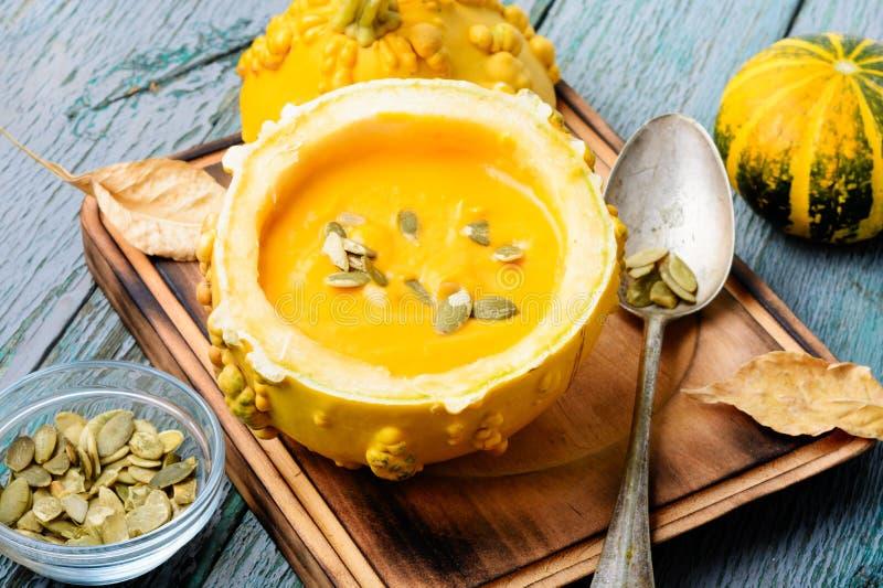 在南瓜的南瓜奶油色汤 免版税库存图片
