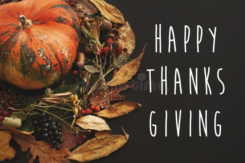 在南瓜的愉快的感恩文本在秋叶缠绕, berr 库存照片