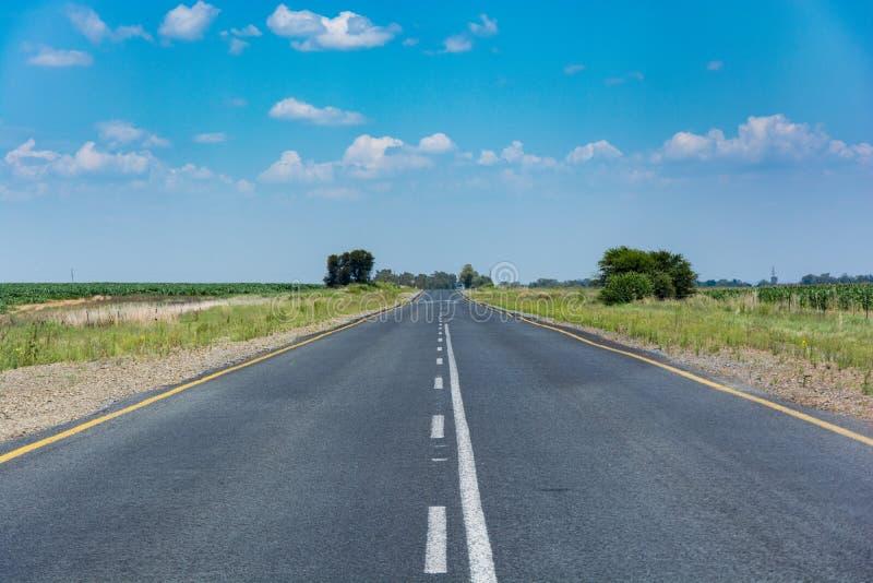 在南非的Freestate省的涂焦油农村路 免版税库存照片