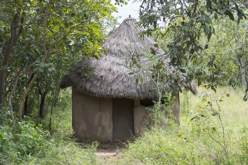 在南非自然的农村非洲小屋 免版税库存图片