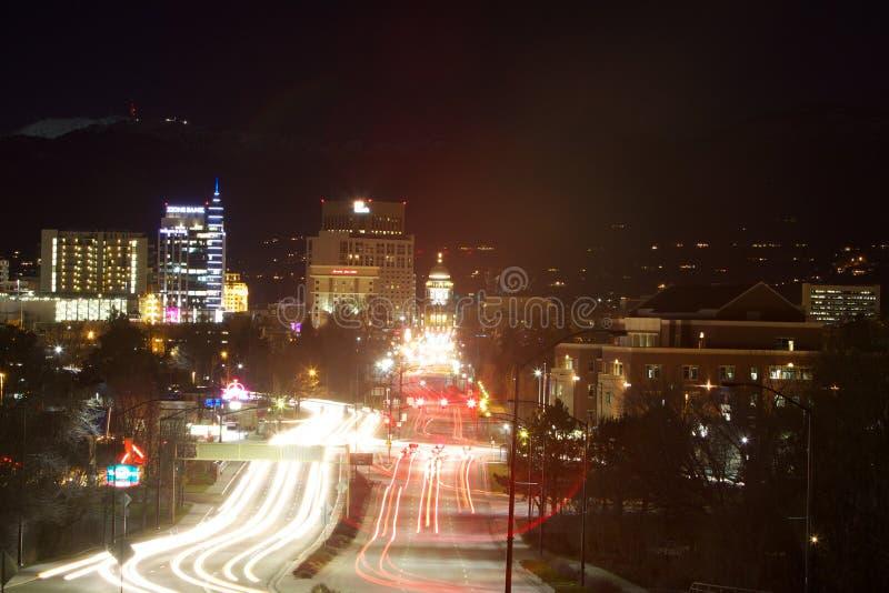 在博伊西的国会大厦大道的光足迹 免版税库存图片