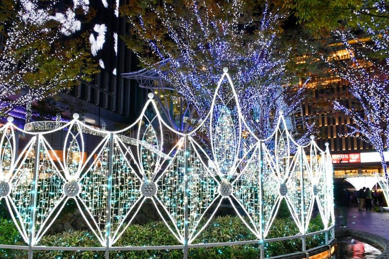 在博多站,福冈的2018个冬天照明 免版税库存照片