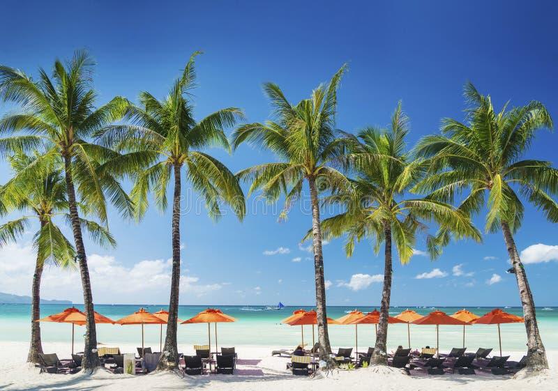 在博拉凯热带海岛上的白色海滩休息室酒吧在菲律宾 免版税图库摄影