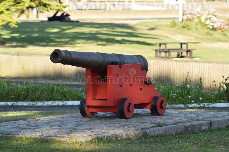 在博物馆的一个战争大炮武器 库存图片