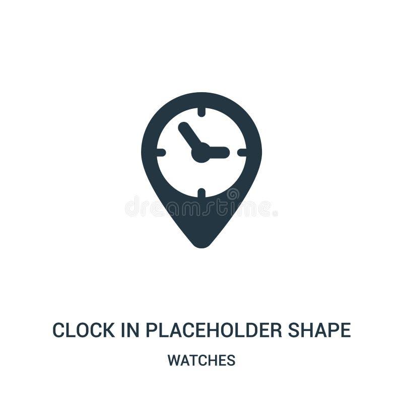在占位符形状象传染媒介的时钟从手表收藏 在占位符形状概述象传染媒介的稀薄的线路码组 皇族释放例证