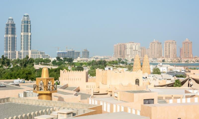 在卡塔拉文化村庄的看法在多哈,卡塔尔 免版税库存图片