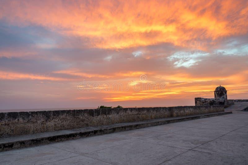 在卡塔赫钠的日落 免版税库存照片