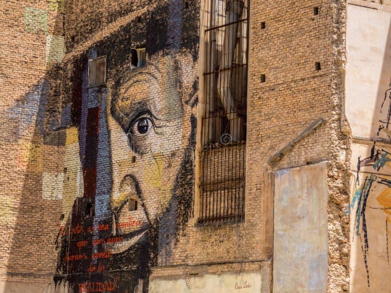 在卡塔赫钠,西班牙老大厦的壁画  库存图片