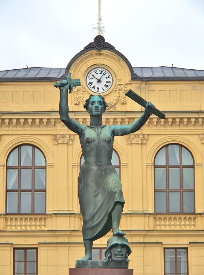 在卡尔斯塔德,瑞典的和平纪念碑 图库摄影