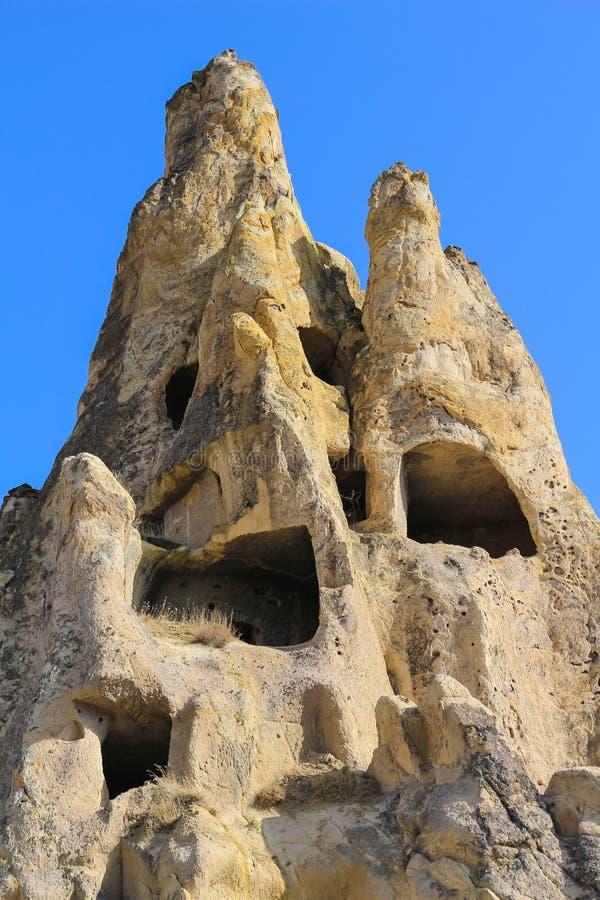 在卡帕多细亚,安纳托利亚,土耳其的岩层 图库摄影