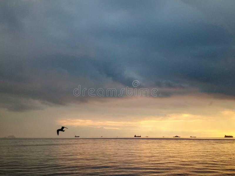 在卡德柯伊沿海岸区的日落在伊斯坦布尔,土耳其 免版税库存图片