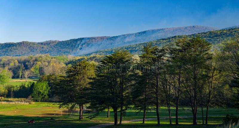 在卡托巴人山的森林火灾 免版税库存图片