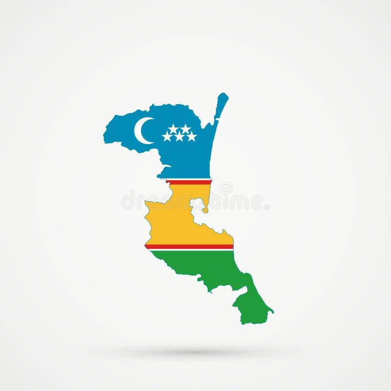 在卡拉卡尔帕克斯坦自治共和国旗子颜色的Kumykia达吉斯坦地图,编辑可能的传染媒介 皇族释放例证
