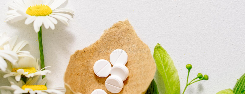 在卡拉服特klubke的白色片剂,绿色叶子药用植物,同种疗法药物 叶子菩提树,春黄菊flo花和果子  免版税图库摄影