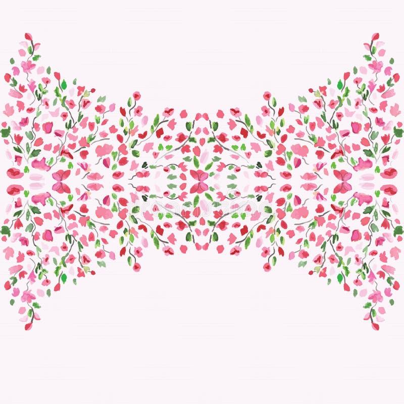 在卡片中间的装饰花卉背景 生日贺卡礼品兔子 手拉的水彩框架 春天…上升了叶子,自然本底 库存例证