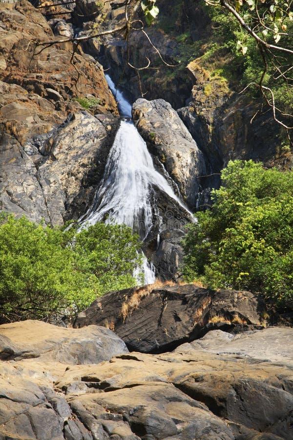在卡纳塔克邦状态的瀑布 印度 免版税库存照片