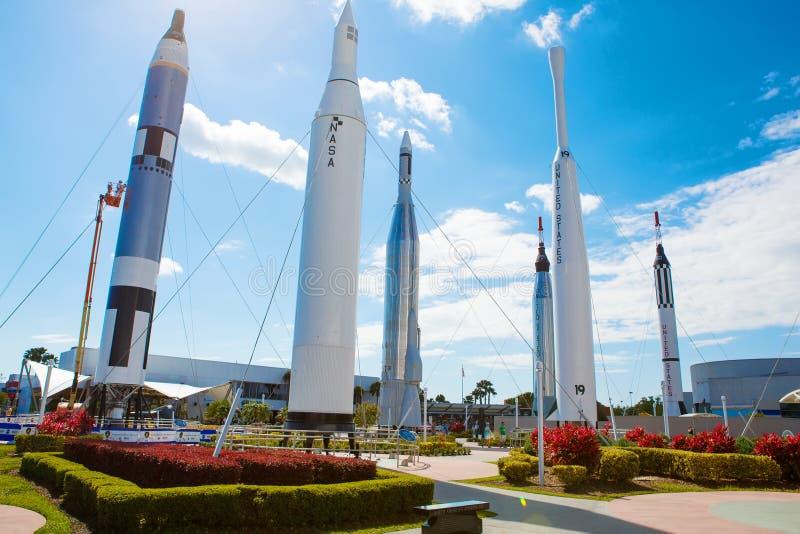在卡纳维尔角附近的肯尼迪航天中心在佛罗里达,美国 免版税库存照片