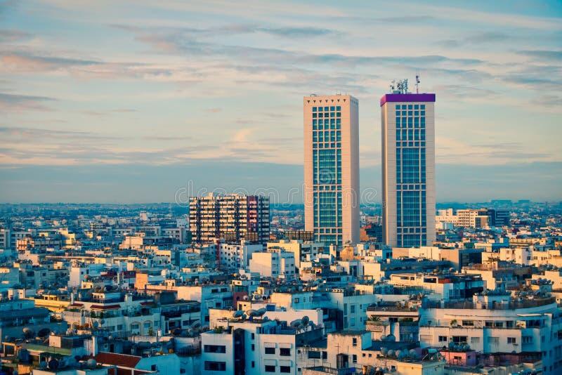 在卡萨布兰卡,摩洛哥的日落 库存图片