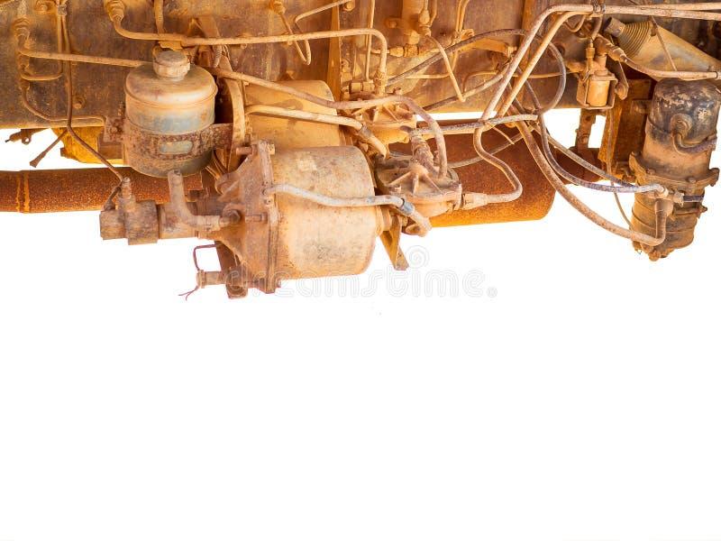 在卡车的老肮脏的柴油引擎 老汽车机舱  免版税库存照片