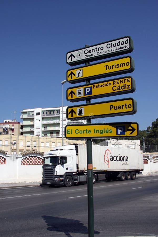 在卡迪士古老海的街道上的路标  库存照片