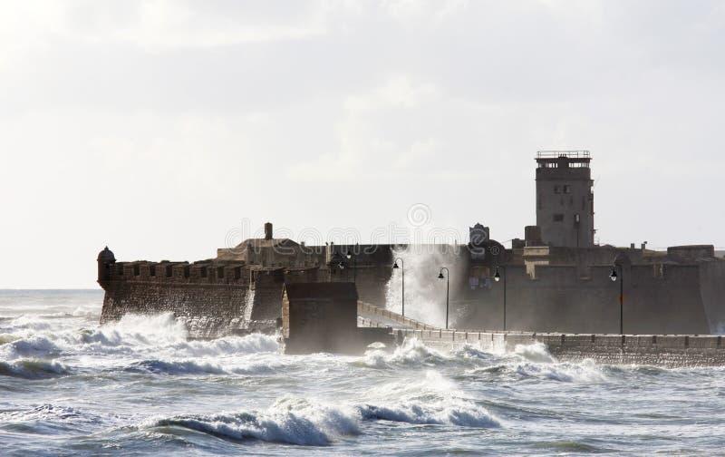在卡迪士城堡粗砺的San Sebastian通知附近 免版税库存图片