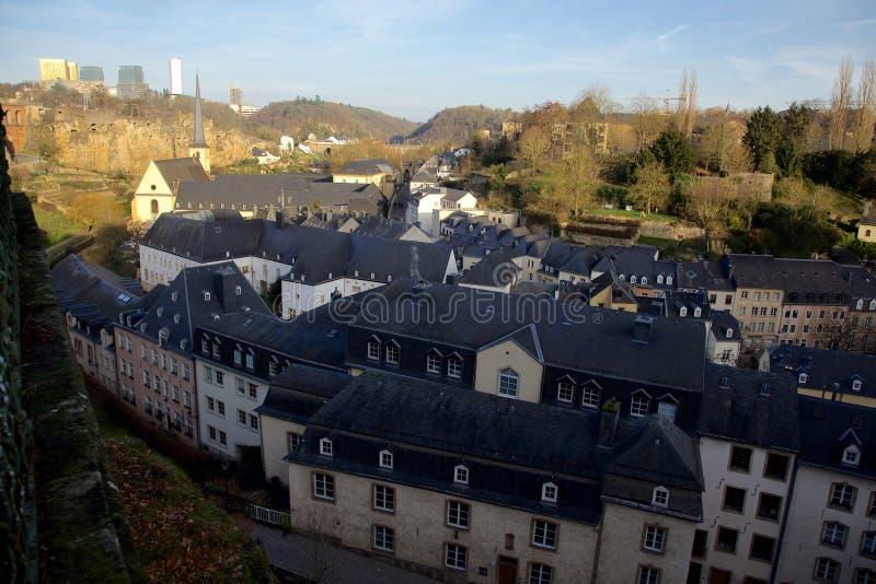 在卢森堡的老镇的看法 库存照片
