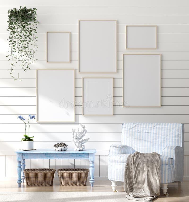 在卧室内部的假装框架,有海装饰的海洋室和家具,沿海样式 免版税图库摄影