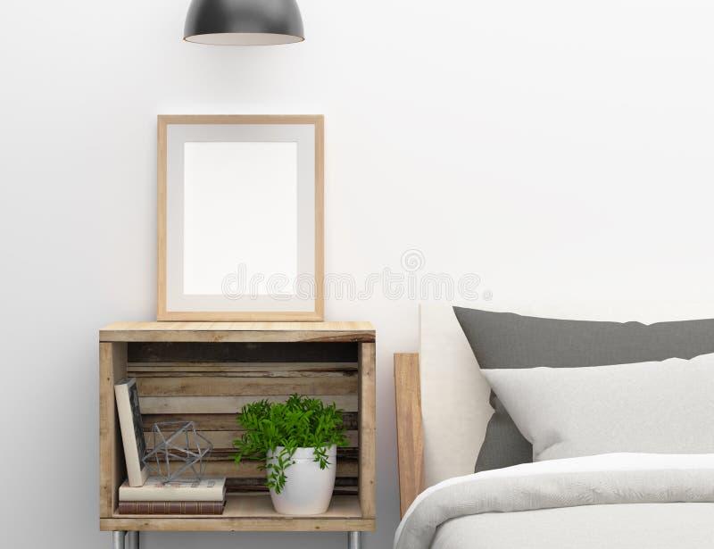 在卧室边桌上的空白的框架大模型 库存例证