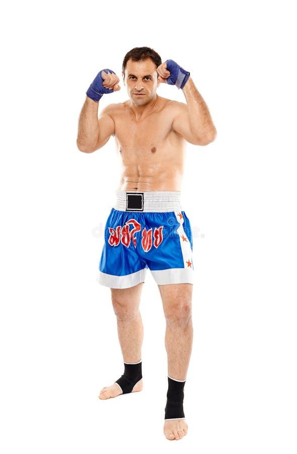 在卫兵姿态的Kickboxer 免版税库存图片