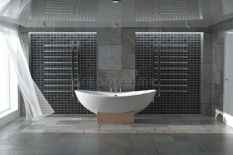在卫生间内部的现代白色Bathtube 3d翻译 免版税库存图片