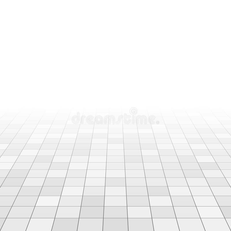 在卫生间地板上的白色和灰色大理石瓦片 在透视栅格的长方形瓦片 抽象背景向量 皇族释放例证