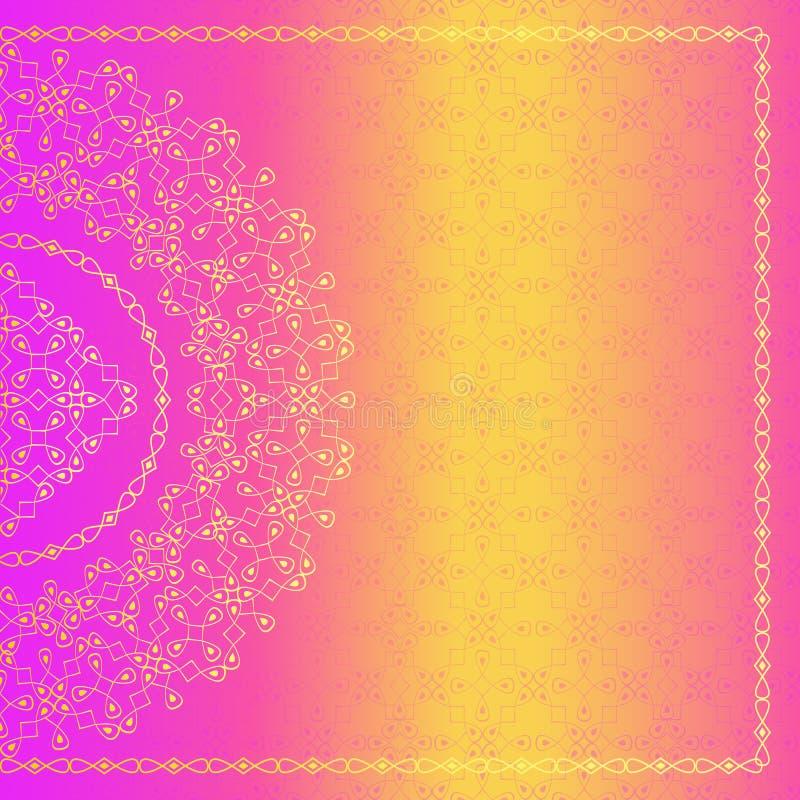 在印地安样式的传染媒介华丽背景 设计要素花卉例证向量 艺术邀请的葡萄酒框架,生日 向量例证