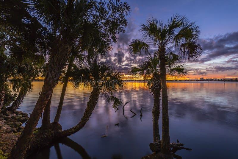 在印地安河-梅里特岛,佛罗里达的日落 免版税库存照片