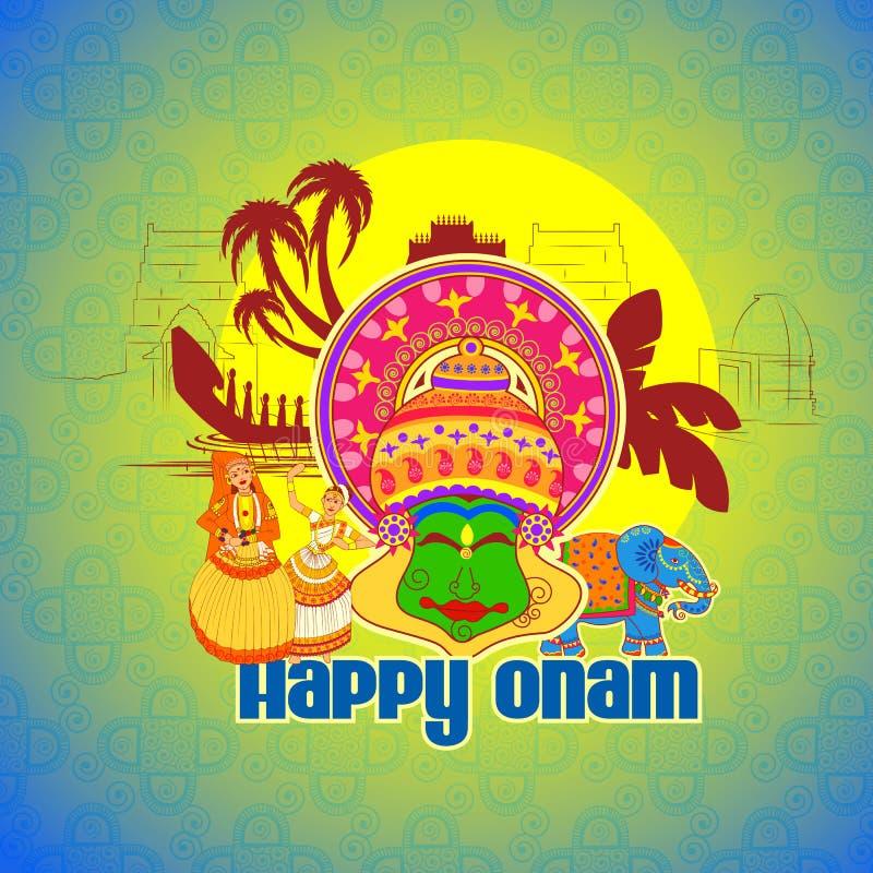 在印地安艺术样式的愉快的Onam背景 向量例证