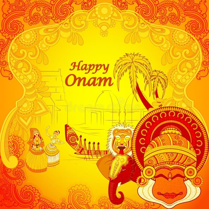 在印地安艺术样式的愉快的Onam背景 库存例证