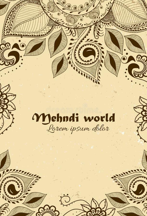 在印地安装饰样式的传染媒介背景 Mehndi花饰 手拉的种族样式 无刺指甲花纹身花刺题材 库存例证