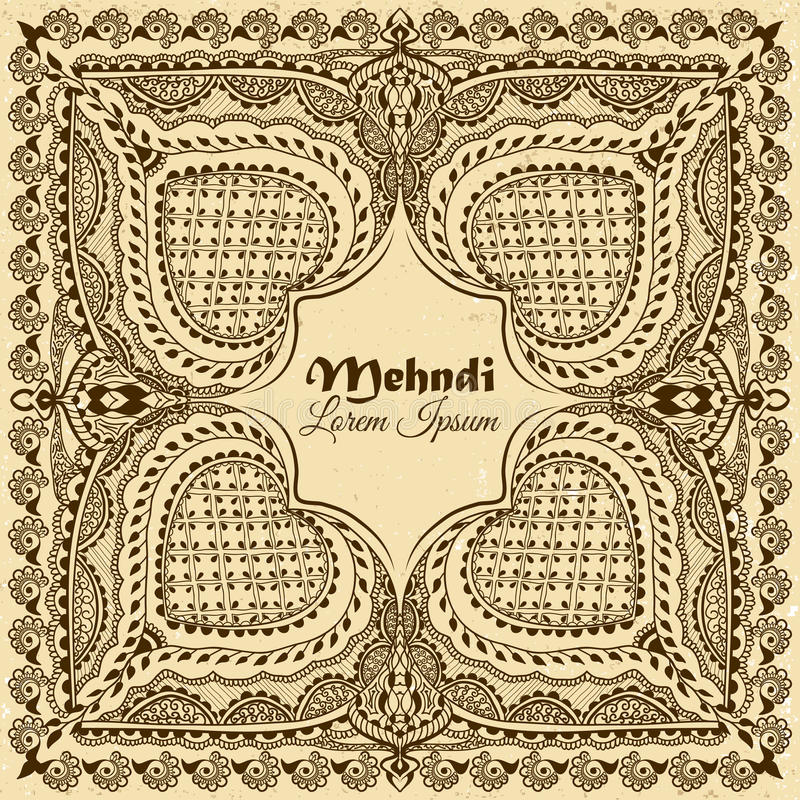 在印地安装饰样式的传染媒介背景 Mehndi花饰 手拉的种族样式 向量例证
