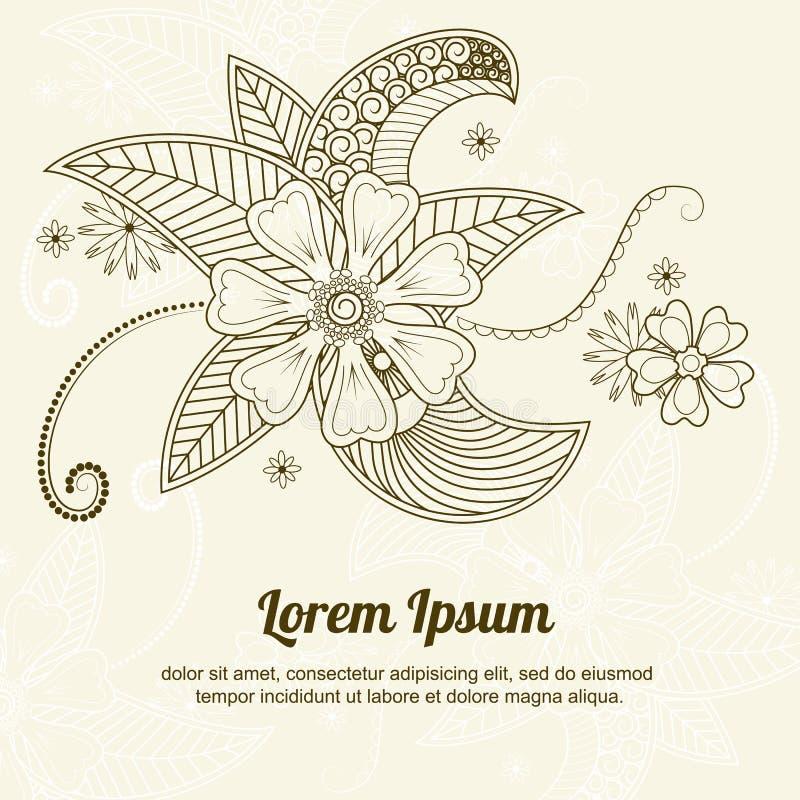 在印地安mehndi的传染媒介抽象花卉元素 向量例证
