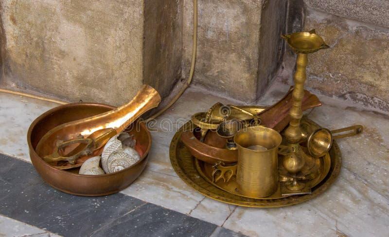 在印度寺庙之外的奉献物在印度 免版税库存图片