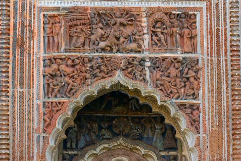 在印度寺庙,印度的赤土陶器装饰 库存照片
